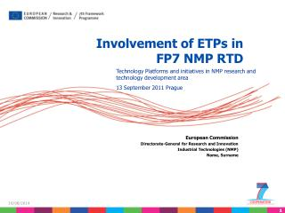 Involvement of ETPs in FP7 NMP RTD