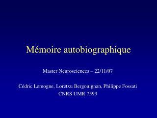 Mémoire autobiographique