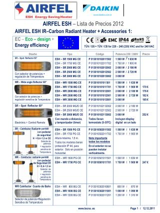 AIRFEL ESH IR–Carbon Radiant Heater + Accessories 1: