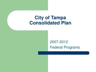 City of Tampa Consolidated Plan