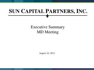 Executive Summary MD Meeting