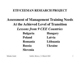 ETF/CEEMAN RESEARCH PROJECT