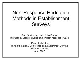Non-Response Reduction Methods in Establishment Surveys
