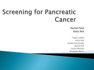 Screening for Pancreatic Cancer