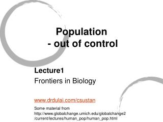 Population - out of control