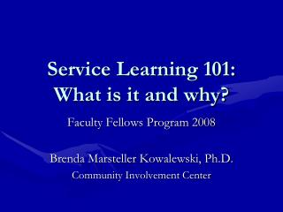 Service Learning 101: What is it and why?