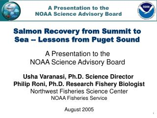 A Presentation to the  NOAA Science Advisory Board