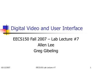 Digital Video and User Interface
