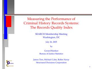 Measuring the Performance of Criminal History Records Systems: The Records Quality Index