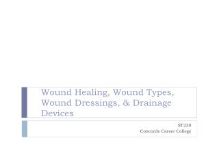 Wound Healing, Wound Types, Wound Dressings, & Drainage Devices