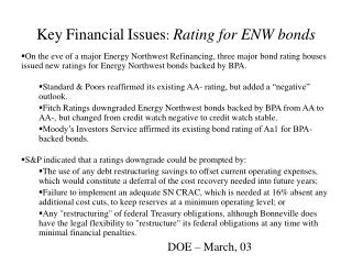 Key Financial Issues :  Rating for ENW bonds