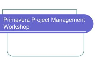 Primavera Project Management  Workshop