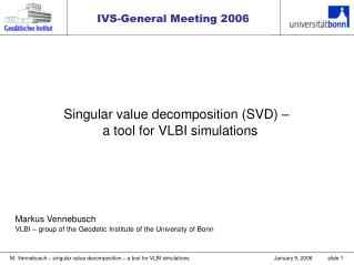 Singular value decomposition (SVD) – a tool for VLBI simulations 	Markus Vennebusch