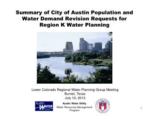 Austin Water Utility Water Resources Management Program