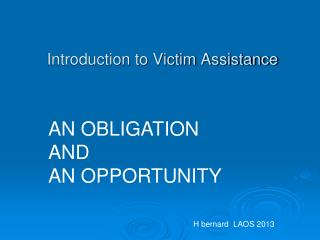 Introduction to Victim Assistance