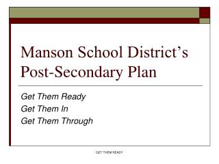 Manson School District's Post-Secondary Plan