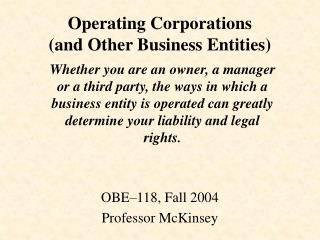 Operating Corporations  (and Other Business Entities)