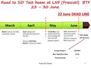 Road to SiD Test beam at LNF (Frascati)  BTF 23 – 30 June.
