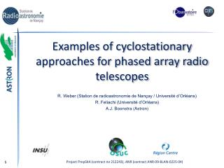 Examples of cyclostationary approaches for phased array radio telescopes