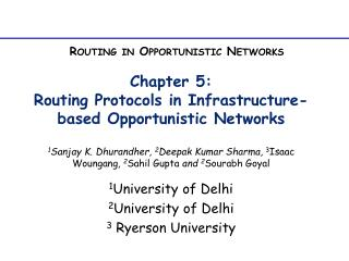 Chapter 5:  Routing Protocols in Infrastructure-based Opportunistic Networks