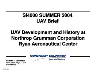 UAV Development and History at Northrop Grumman Corporation Ryan Aeronautical Center