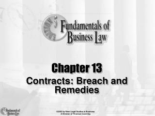Chapter 13 Contracts: Breach and Remedies