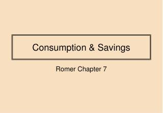 Consumption & Savings