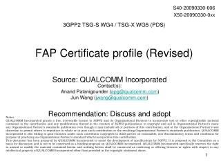 FAP Certificate profile (Revised)