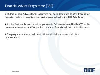 Financial Advice Programme (FAP)