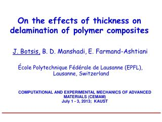 On the effects of thickness on delamination of polymer composites