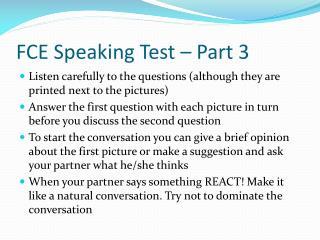 FCE Speaking Test – Part 3