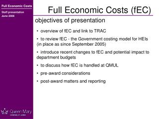 Full Economic Costs (fEC)