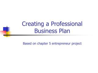 Creating a Professional Business Plan Based on chapter 5 entrepreneur project