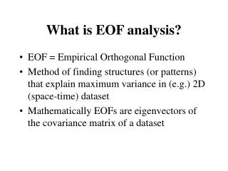 What is EOF analysis?