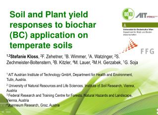 Soil and Plant yield responses to biochar (BC) application on temperate soils