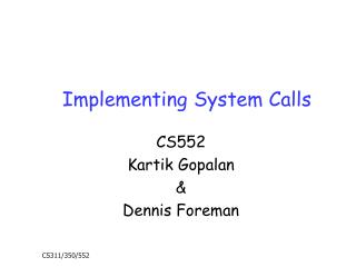 Implementing System Calls