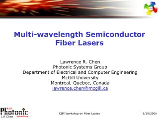 Multi-wavelength Semiconductor Fiber Lasers