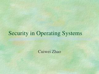 Security in Operating Systems