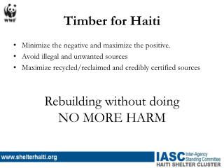 Timber for Haiti