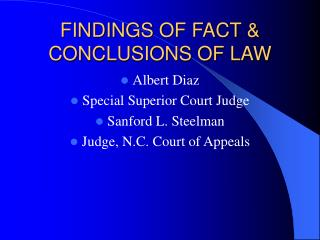 FINDINGS OF FACT & CONCLUSIONS OF LAW