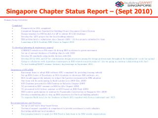 Singapore Chapter Status Report – (Sept 2010) ‏