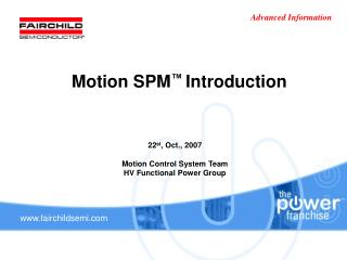 Motion SPM ™  Introduction