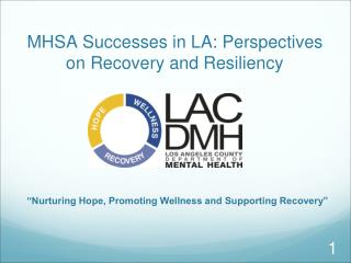 MHSA Successes in LA: Perspectives on Recovery and Resiliency
