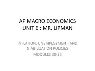 AP MACRO ECONOMICS UNIT 6 : MR. LIPMAN
