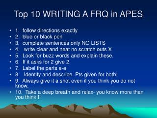 Top 10 WRITING A FRQ in APES