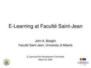 E-Learning at Faculté Saint-Jean