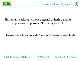 Extremum seeking without external dithering and its application to plasma RF heating on FTU