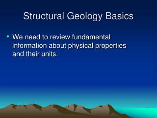 Structural Geology Basics