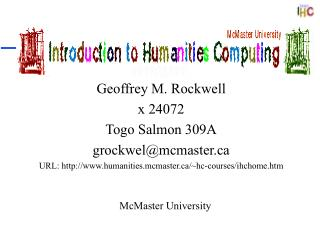 Introduction to Humanities Computing