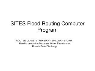 SITES Flood Routing Computer Program